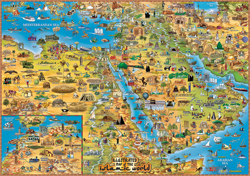 Illustrated map of the islamic world dinos maps illustrated map of the islamic world gumiabroncs Gallery