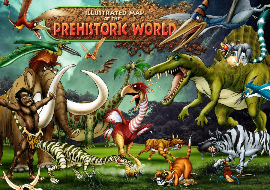 ILLUSTRATED MAP OF THE PREHISTORIC WORLD COLLAGE