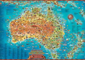 CHILDREN'S MAP OF AUSTRALIA & NEW ZEALAND