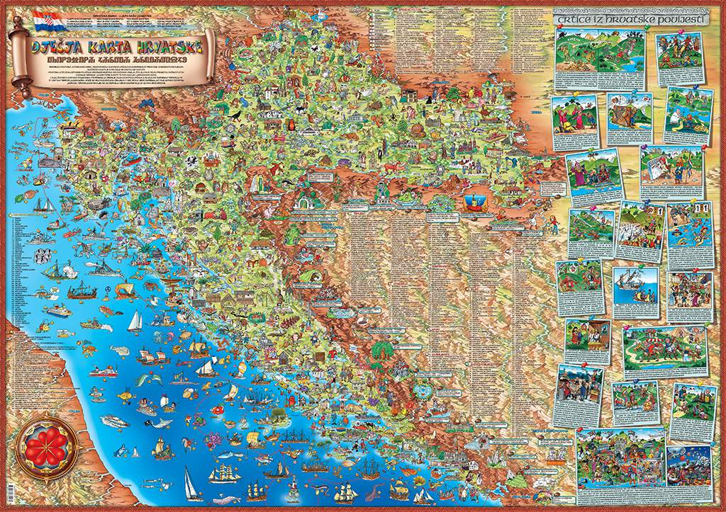 karta s DJEČJA KARTA HRVATSKE (CHILDREN'S MAP OF CROATIA)   Dino's Maps karta s