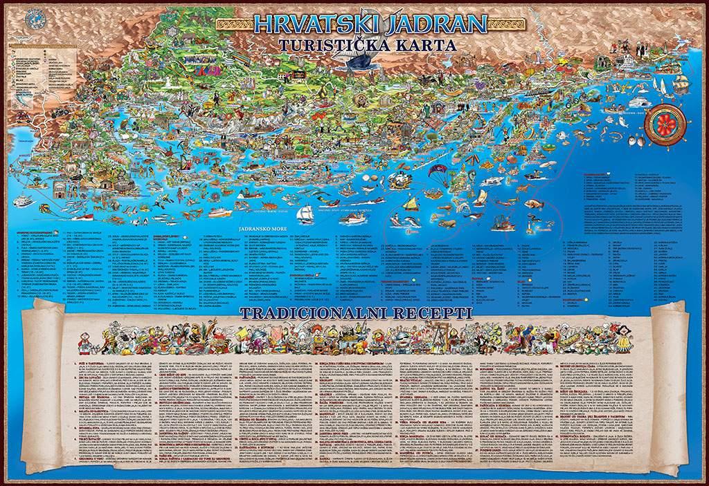 the adriatic coast of croatia a tourist map