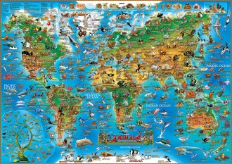 CHILDREN'S MAP OF ANIMALS & PREHISTORIC WORLD