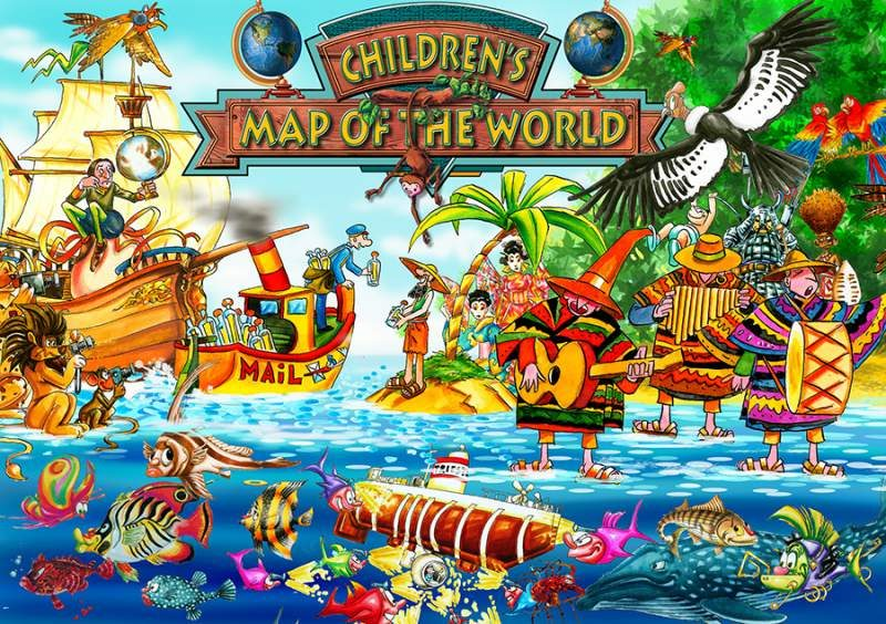 CHILDREN'S MAP OF THE WORLD (first edition) COLLAGE