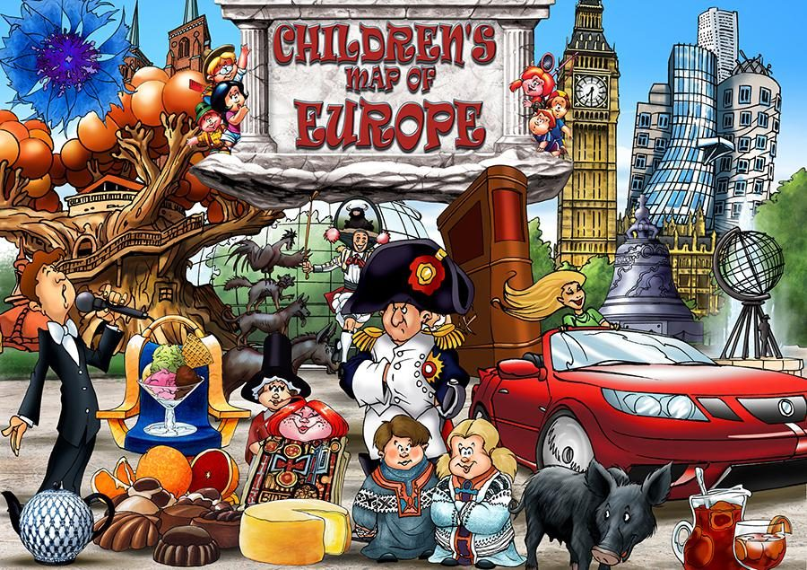 CHILDREN'S MAP OF EUROPE COLLAGE