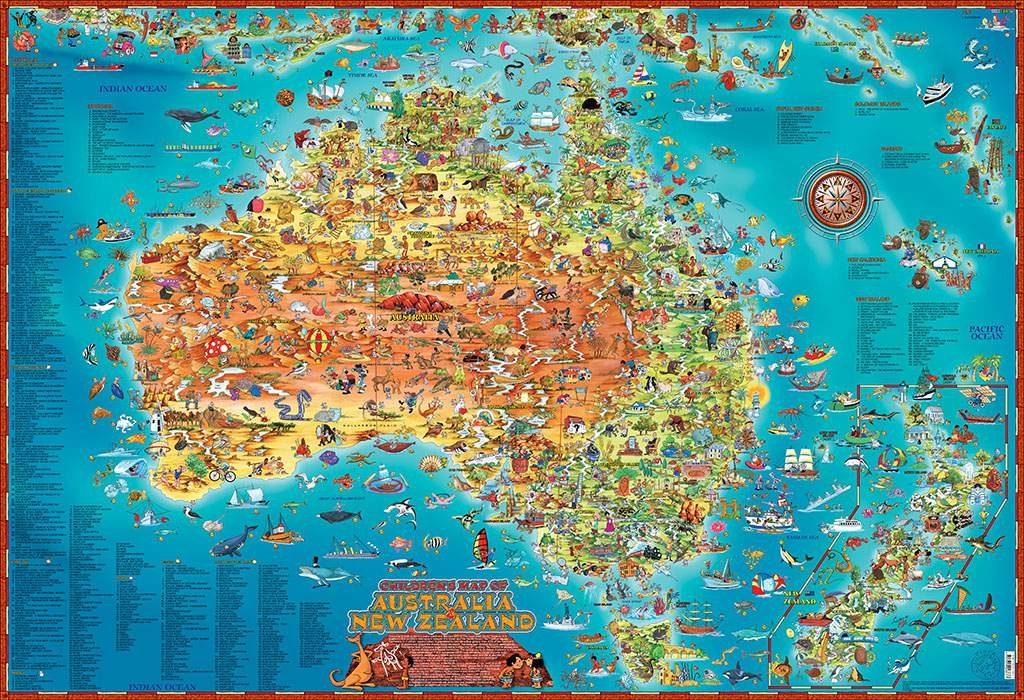 CHILDREN'S MAP OF AUSTRALIA & NEW ZEALAND