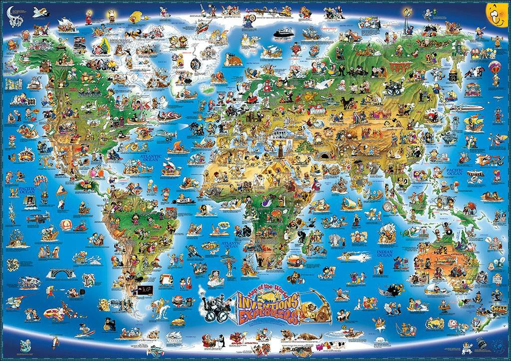 MAP OF THE WORLD INVENTIONS AND EXPLORERS