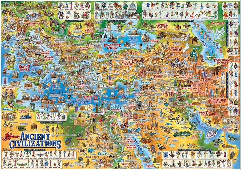 CHILDREN'S ILLUSTRATED MAP OF THE ANCIENT CIVILIZATIONS