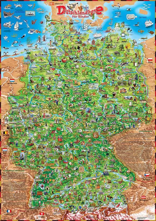 maps deutschlandkarte DEUTSCHLANDKARTE FÜR KINDER (CHILDREN'S MAP OF GERMANY)   Dino's Maps maps deutschlandkarte