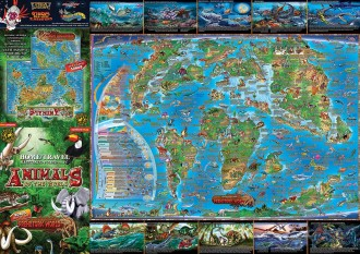 CHILDREN'S MAP OF ANIMALS & PREHISTORIC WORLD